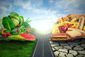 Diet decision concept and nutrition choices dilemma crossroad between healthy good fresh fruit and vegetables or greasy cholesterol rich fast food